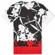 Marni Contrast Panel Flower Tee (White, Black & Red)