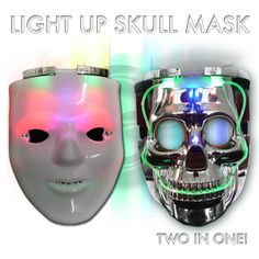 LED Mask.  Can take the white mask off and reveal a skeleton mask underneath, if desired.