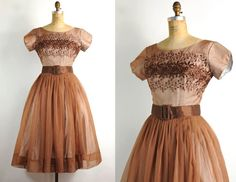 Vintage Party Dress, Coffe Brown & Embroidered