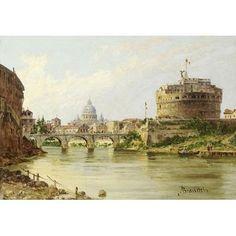 The Tiber With The Castel Sant'Angelo And St.Peter'S, Rome by Antonietta Brandeis Bridges Art Print
