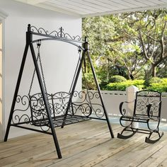 Add a fancy place to sit with the Coral Coast Ridgecrest 4 ft. Metal Outdoor Porch Swing and Stand . This swing comes with its own stand, so there's. Wrought Iron Garden Furniture, Garden Furniture Sale, Iron Patio Furniture, Wrought Iron Decor, Home Decor Furniture, Grill Door Design, Door Gate Design, Porch Swing With Stand, Affordable Outdoor Furniture