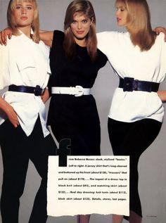 "Vogue US December 1986  ""The Knit Explosion""  Models: Hunter Reno, Renee Simonsen & Ashley Richardson  Photographer: Eric Boman #belt http://supermodelobsession.tumblr.com"