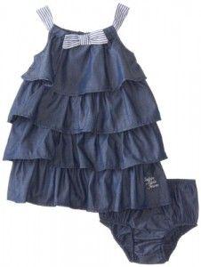 Baby Girl Dresses Calvin Klein Baby-Girls Infant Chambray Ruffled Dress, Blue, 24 Months On Sale