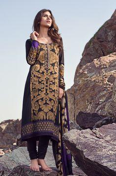 Black Woven Salwar Kameez by Sana Safinaz Winter Collection