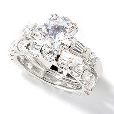 114-872 - BELITA[ PlatinumEmbraced Brilliante] 4.58 DEW Round- Cut Ring Set