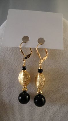 Black Onyx and Gold Elegant Statement Necklace