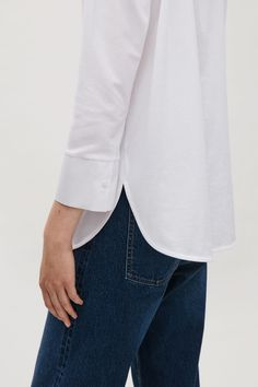 COS image 8 of Cotton poplin and jersey shirt in White