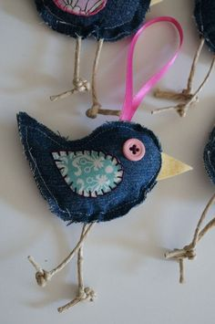 blue jean christmas ornaments | Baby Blue Jean Birdies ornaments by InvisibleRedThread on Etsy, $16.00