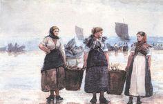 Homer, Winslow - 'Fisherwomen, Cullercoats', 1881, graphite & watercolor on paper