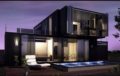 black container home with two floors                              …