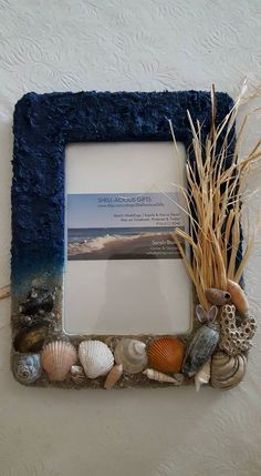 """Great wedding gifts, gifts for your teacher, decor for the office & family photos!  (""""Stormy Beach Day"""" Frame) -100% Handmade with Beach Sand and Hand Collected Sea Shells and Coral from the Carolinas!  Clear coated so sand doesn't come off!! Choose 4x6, 6x4; table top & wall hanging display!"""