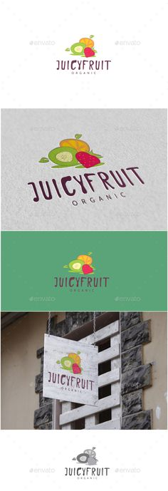 Buy Juicy Fruit Logo by MS_designer on GraphicRiver. Juicy Fruit Logo -AI and EPS file -CMYK mode vector and resizable -Easy to edit color and text -Juicy Fruit Log. Resturant Logo, Logo Restaurant, Typography Logo, Logos, Fruit Logo, Fruits Drawing, Fruit Packaging, Cafe Logo, Fruit Decorations