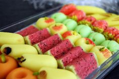 Little bits of goodness: CANDY photos) Chocolates, Marzipan Candy, American Desserts, Almond Paste, Fondant Figures, Party Snacks, Holiday Recipes, Watermelon, Snack Recipes