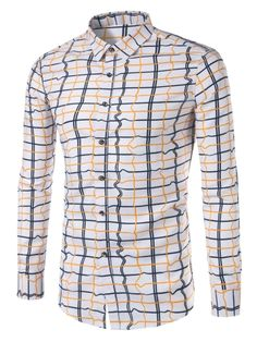 Plaid Single-Breasted Men's Cotton Blends Shirt