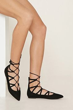 aa8ef025438b Faux Suede Lace-Up Flats Forever 21 Shoes