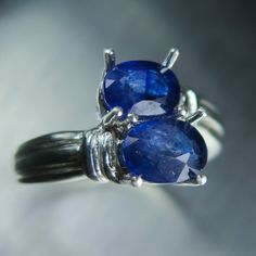 3.70cts Natural Sapphire Blue Ray Star & white topaz ring by EVGAD
