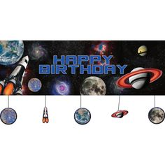 Amazon.com: Creative Converting Space Blast Giant Party Banner with Hanging Cutouts: Toys & Games