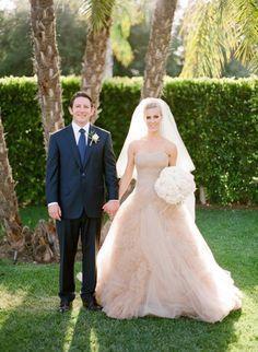 Glamorous bride and groom: http://www.stylemepretty.com/2015/02/26/spring-santa-barbara-wedding-at-villa-sevillano-part-i/   Photography: Jose Villa - http://josevilla.com/