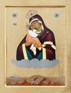 The Icon Painting Studio of St Elisabeth Convent will paint this icon of the Mother of God of Pochaev to order in several sizes, starting from cm. Paint Icon, Hand Carved, Hand Painted, Painting Studio, Linseed Oil, Orthodox Icons, Tempera, Semi Precious Gemstones, Catholic