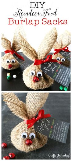 Reindeer Food Craft & Recipe Crafts Unleashed DIY Reindeer Food Burlap Sacks (hersheys kisses or m&ms would be fun too) The post Reindeer Food Craft & Recipe Crafts Unleashed appeared first on Holiday ideas. Holiday Crafts For Kids, Xmas Crafts, Christmas Projects, Holiday Fun, Christmas Ideas, Homemade Christmas, Craft Christmas Gifts, Christmas Gifts For Neighbors, Christmas Name Tags