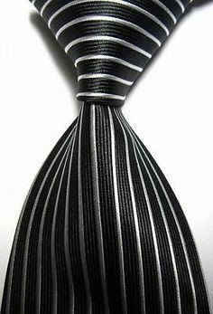 New Classic Stripes Black White JACQUARD WOVEN 100% Silk Men's Tie Necktie