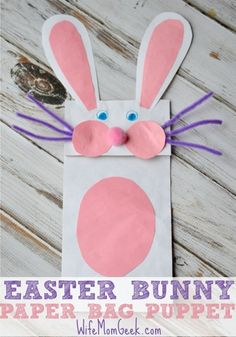 Bunny Paper Bag Puppet - Fun Easter Craft for Kids! Easter traditions Bunny Paper Bag Puppet - Fun Easter Craft for Kids! Holiday Crafts For Kids, Bunny Crafts, Easter Art, Easter Projects, Easter Crafts For Kids, Toddler Crafts, Preschool Crafts, Easter Ideas, Easter Bunny