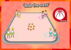 • Rob the nest • A great idea for basketball dribbling in your PE lessons. HOW TO PLAY: 1. Divide the class into 4 teams, and give each team a base in the corner of a large square. Put 10+ basketballs in the middle. 2. On go players try to dribble as many balls as they can back to their team. Players can steal from other teams bases, but must DRIBBLE the ball back. The team with the most balls at the end of time (4 minutes) wins. Check out loads more ideas #basketballgamesforkids Gym Games For Kids, Sports Activities For Kids, Basketball Games For Kids, Basketball Workouts, Outdoor Games For Kids, Activities For Teens, Summer Camp Games, Basketball Birthday, Soccer Drills