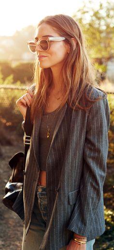 Just The Design: Chiara Ferragni is wearing a grey pinstripe blazer from MSGM
