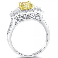 1.64 Carat Fancy Yellow Radiant Cut Diamond Engagement Ring 14k Vintage Style - Fancy Color Engagement Rings - Engagement - Lioridiamonds.com