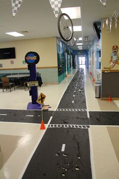 Now these are some great ideas! Wheels. Roads. Flags. Cones. Look at how the item from Everywhere Fun Fair VBS was reused for G-Force VBS! www.cokesburyvbs.com