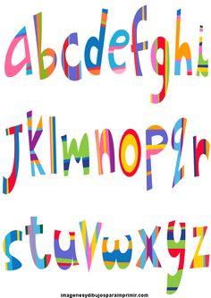 Abecedario con letras de colores para imprimir