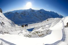 Engineers have spent the past five months building the Titlis Cliff Walk, Europe's highest suspension bridge at above sea level on Mount Titlis in the Swiss Alps. Mount Titlis, Scary Bridges, Unique Hotels, Suspension Bridge, Swiss Alps, Day Tours, Beautiful Places, Scenery, Places To Visit
