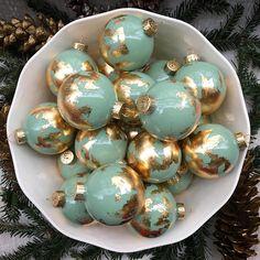 Sage Green Gold Leaf Globe Christmas Ornament Travel Gift
