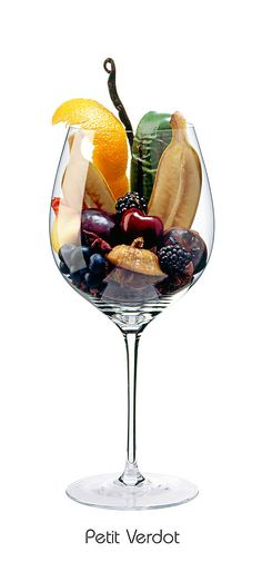 PETIT VERDOT  Banana, blackberry, fig, blueberry, cherry, orange peel, plum, green grilled pepper, star anise, black pepper, vanilla bean, juniper