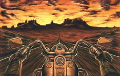 Oil Painting Artwork Motorcycle Stretched Canvas Giclee