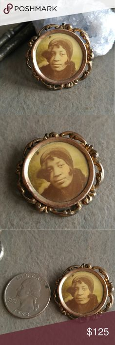 Antique mourning brooch African American lady This wonderful antique mourning brooch has a rare lithograph photo of a beautiful African American woman. This brooch is from the Edwardian to Victorian era, exact age unknown, but sometime between 1890s to 1919. Someone loved this lady very much and wanted to wear this brooch to remember her by. The metal is likely gold filled. C clasp. In good condition, has lots of age patina, light surface wear. ( Tags memento mori black americana ) Offers…