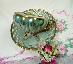 Vintage Tea Cup and Saucer Royal Sealy Aqua Lusterware with Vintage Bridal Hankie and Corsage Pin Gift Set on Wanelo
