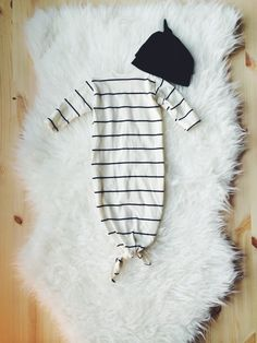 Newborn Sleeper And Top Knot Beanie, Sleep Sack, Baby Hospital Outfit, Baby Shower Gift, Onesie, Beanie, Newborn, Newborn Photos, Stripes by IvyAndOliver on Etsy https://www.etsy.com/listing/209817427/newborn-sleeper-and-top-knot-beanie