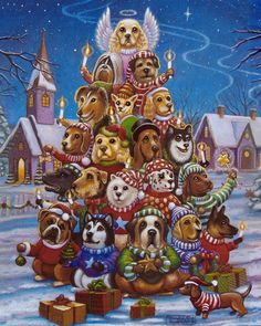 Canine Christmas Tree Jigsaw PuzzleCanine Christmas Tree Jigsaw Puzzle - Can you spot all of the different dog breeds in this fun Christmas puzzle? These beautifully illustrated jigsaw puzzles are perfect for passing the time in anticipation of Christmas. Christmas Jigsaw Puzzles, Christmas Puzzle, Christmas Poems, Christmas Puppy, Christmas Scenes, Christmas Animals, Christmas Pictures, Christmas Colors, Kids Christmas