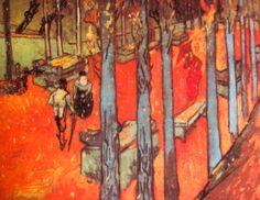 Vincent van Gogh. Les Alyscamps, Falling Autum Leaves. Arles, November 1888. Oil on canvas, 73x92cm. Otterlo, Kröller-Müller Museum.
