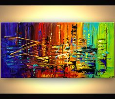 textured city painting colorful abstract painting heavy impasto