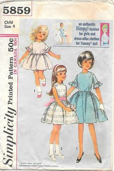 Simplicity 5859 1960s Tammy Doll Fashion Dress and Doll Dress Vintage Sewing Pattern,by GrandmaMadeWithLove