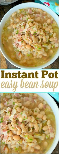 cooker bean soup that is healthy and homemade. The perfect Instant Pot soup during the winter and year round really. via cooker bean soup that is healthy and homemade. The perfect Instant Pot soup during the winter and year round really. via Meatloaf. White Bean Recipes, Bean Soup Recipes, Lunch Recipes, Beans Recipes, Yummy Recipes, Recipies, Healthy Recipes, Pressure Cooker Beans, Instant Pot Pressure Cooker
