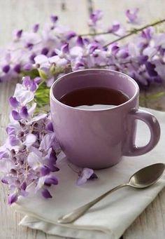 Purple - cup of tea & wisteria I Love Coffee, Coffee Break, My Coffee, Morning Coffee, Coffee Cups, Tea Cups, Sunday Coffee, Café Chocolate, Pause Café