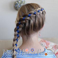 French Four Strand Braid-with ribbon; Pretty Hair is Fun   hair; braids; hairstyles; updos; wedding; prom; homecoming; girls hairstyles; easy hairstyles;