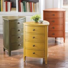 This remind me of the little chest my Mom kept int he corner of the dining room for the kippahs and prayer books for shabbat dinner.  Could be a cute addition!  Fiona Triangle Chest