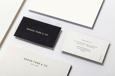 Shaun Ford and Co. brand identity and duplex business card with gold foil detail designed by Savvy.