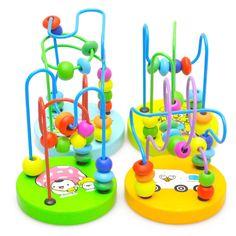 유아 학습 장난감 어린이 어린이 아기 다채로운 나무 장난감 미니 구슬 주위에 교육 장난감 아이 임의의 색상