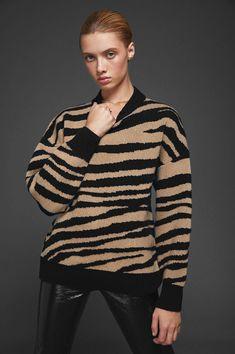 9dd674dac61 ANINE BING CHEYENNE SWEATER - ZEBRA Black Leather Pants