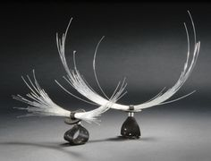 """Lisbeth Nordskov-DK  """"Goldsmith Lisbeth Nordskov combines his fags traditional materials gold, silver and precious stones with materials from everyday life, such as copper cables, bicycle tubes, horsehair, seed pods and African beans."""""""